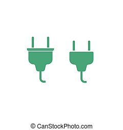 Electric plug cable connector icon vector illustration isolated on white