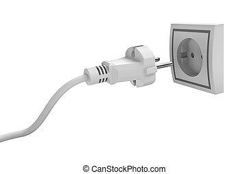 Electric plug isolated on white background