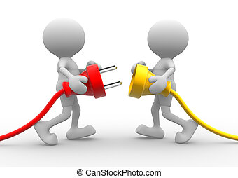 Electric plug - 3d people - men, person connecting a cable....