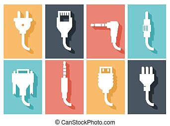 Electric plug flat icons set. Connection technology,...