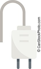 Electric plug icon flat isolated vector