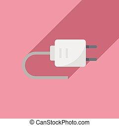 Electric plug icon, flat style