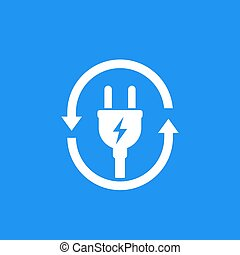 electric plug icon with arrows