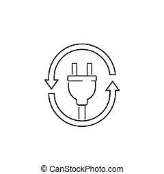 electric plug icon with arrows, line vector