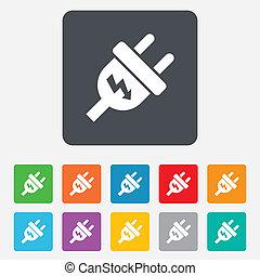 Electric plug sign icon. Power energy symbol. Lightning sign...