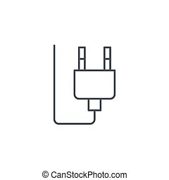 Electric Plug thin line icon. Linear vector symbol