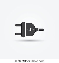 Electric plug - vector minimal icon