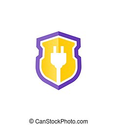 electric plug with a shield vector icon