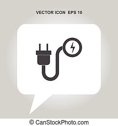 electric plug with lightning vector icon