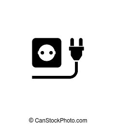 Electric Plug with Power Outlet Flat Vector Icon
