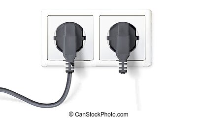 Electric plugs and socket. Realistic black plugs inserted in white electrical outlet, isolated on white background. Icon of device for connecting electrical appliances. Vector 3D illustration