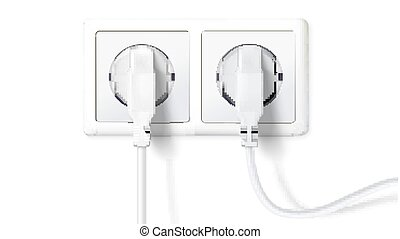Electric plugs and socket. Realistic white plugs inserted in electrical outlet, isolated on white background. Icon of device for connecting electrical appliances, equipment. Vector 3D illustration
