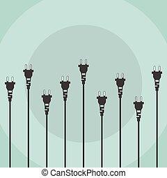 Electric plugs flat design concept