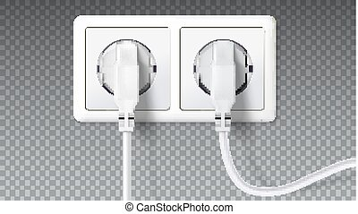 Electric plugs in socket. Realistic white plugs inserted in electrical outlet, isolated on transparent. Icon of device for connecting electrical appliances, equipment. Vector 3D illustration