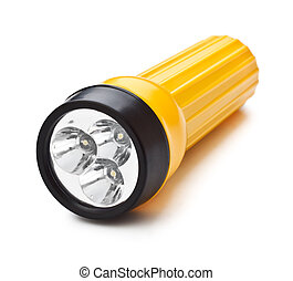 electric pocket flashlight isolated on white background