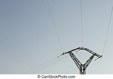 Electric pole against blue sky