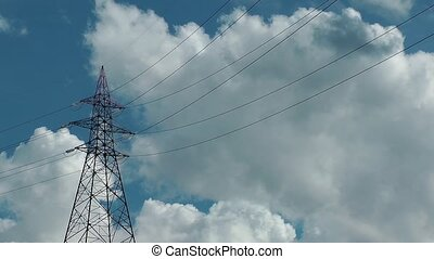 Electric Pole and Clouds Time Lapse