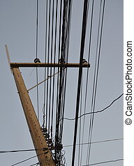 electric pole on sunset