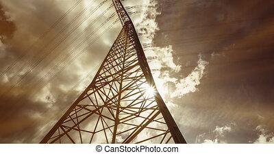 Electric Pole Sunlight, Timelapse - Electric Pole In...