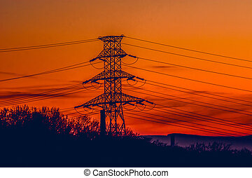 Electric pole with electrical wires in the morning