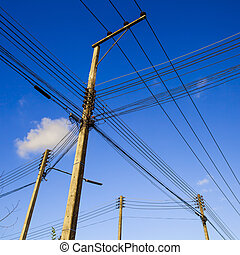 electric pole with wires