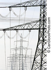 electric poles - group of many electric pylons