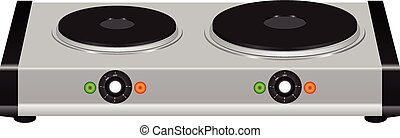 Electric portable stove on a double element. Vector ...