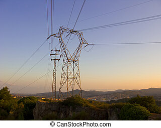 Electric posts at dusk