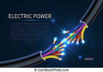 Electric power cables, energy electrical wires abstract industrial vector background