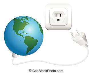 Earth with plug as a symbol for global power consumption. Isolated vector illustration on white background.