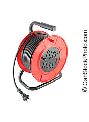 Electric power extension round box on white background.