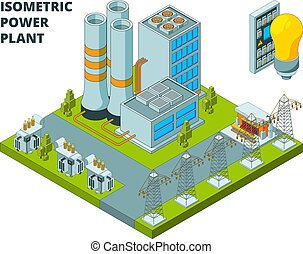Electric power factory. Industrial electricity plant or station energy buildings vector 3d isometric pictures
