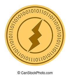 Electric Power golden digital coin icon. Vector style is a gold yellow flat coin cryptocurrency symbol.