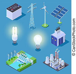 Electric power isometric icons. Energy generator, solar panels and thermal power plant, hydropower station. Electrical vector symbols