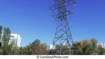 Electric power line in the park - Electric transmission line...