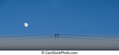 Electric power line on blue sky