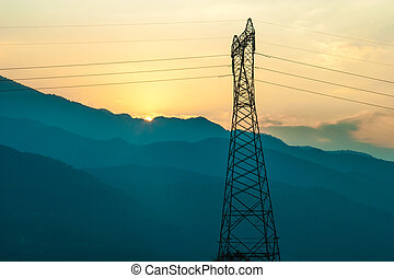 Electric Power lines at Sunset