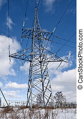 Electric power lines on a blue sky background