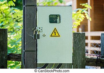 Electric power meter measuring power usage.