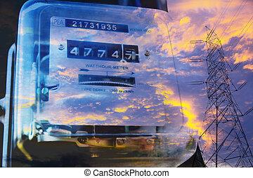 Electric power meter measuring power usage with High voltage post. Watt hour electric meter measurement tool.