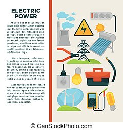 Electric power obtainment and usage promotional poster with...