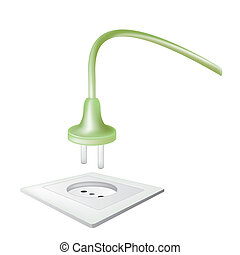 electric power receptacle and plug over white, vector