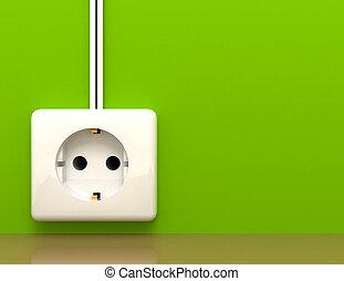electric power socket outlet . 3d rendered illustration