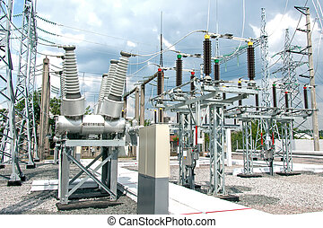 High voltage electric power substation in summer day