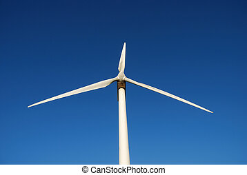 electric power windmill against blue sky