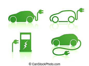 electric powered car icons