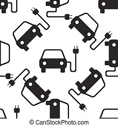 Electric powered car symbol icon seamless pattern on white background. Vector Illustration