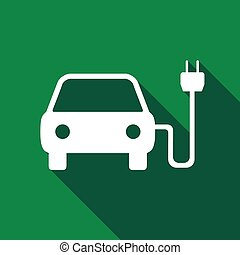 Electric powered car symbol icon with long shadow.