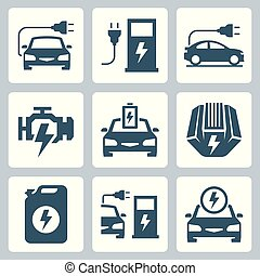 Electric powered car vector icon illustration
