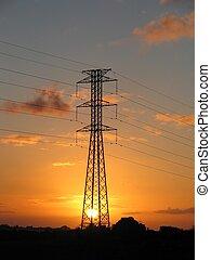 Electric Pylon - Electricity pylon on sunset
